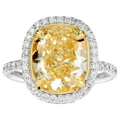 Mark Broumand 5.16 Carat Cushion Cut Light Yellow Diamond Engagement Ring