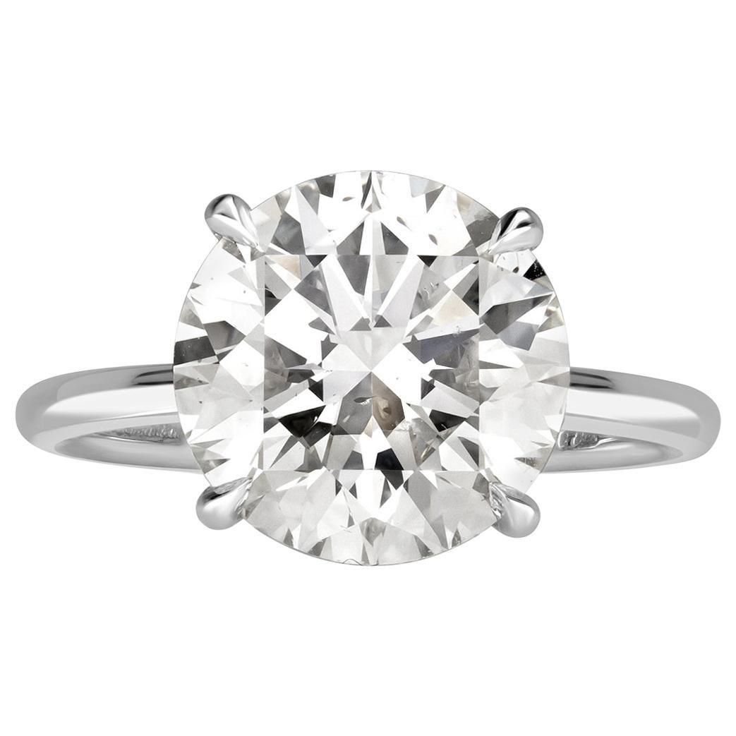 Mark Broumand 5.19 Carat Round Brilliant Cut Diamond Engagement Ring