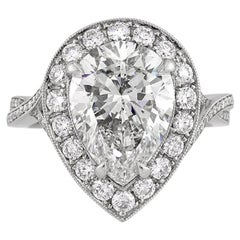 Mark Broumand 5.36 Carat Pear Shaped Diamond Engagement Ring