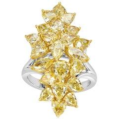 Mark Broumand 5.59 Carat Fancy Yellow Diamond Cluster Ring