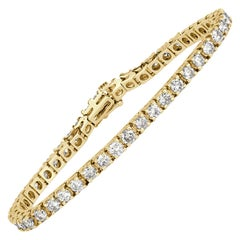 Mark Broumand 5.75ct Round Brilliant Cut Diamond Tennis Bracelet in 14k Yellow G