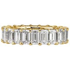 Mark Broumand 6.80 Carat Emerald Cut Diamond Eternity Band in 18 Karat Gold
