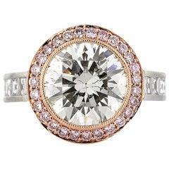 Mark Broumand 7.60 Carat Round Brilliant Cut Diamond Engagement Ring