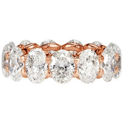 Mark Broumand 9.10 Carat Oval Cut Diamond Eternity Band in 18 Karat Rose Gold