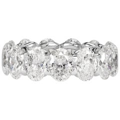 Mark Broumand 9.10 Carat Oval Cut Diamond Eternity Band in 18 Karat White Gold