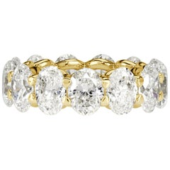 Mark Broumand 9.10 Carat Oval Cut Diamond Eternity Band in 18 Karat Yellow Gold