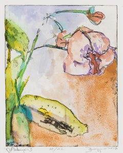 O. Phalenopsis - Peach and Purple Orchid Flower Hand-painted Print