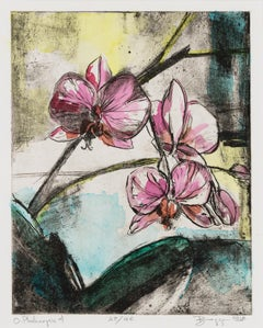 O. Phalenopsis - Pink Orchid Flower Hand-painted Print