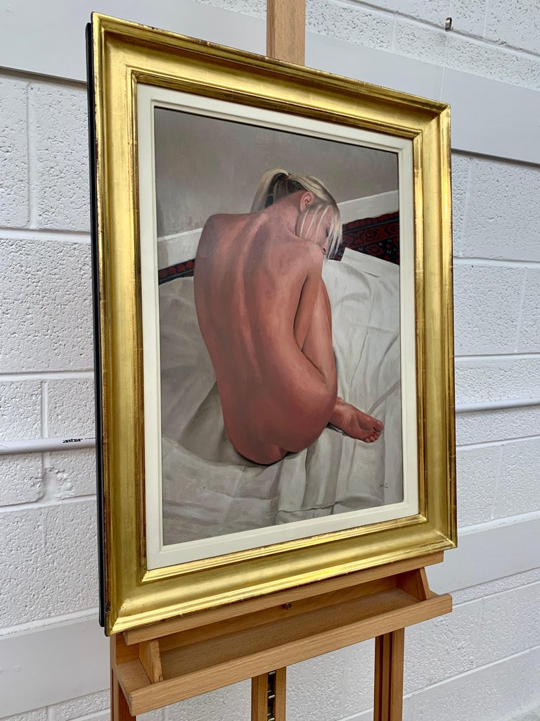 Oil Painting of Female Blonde Nude Figure on Bed by Contemporary British Artist - Brown Nude Painting by Mark Clark