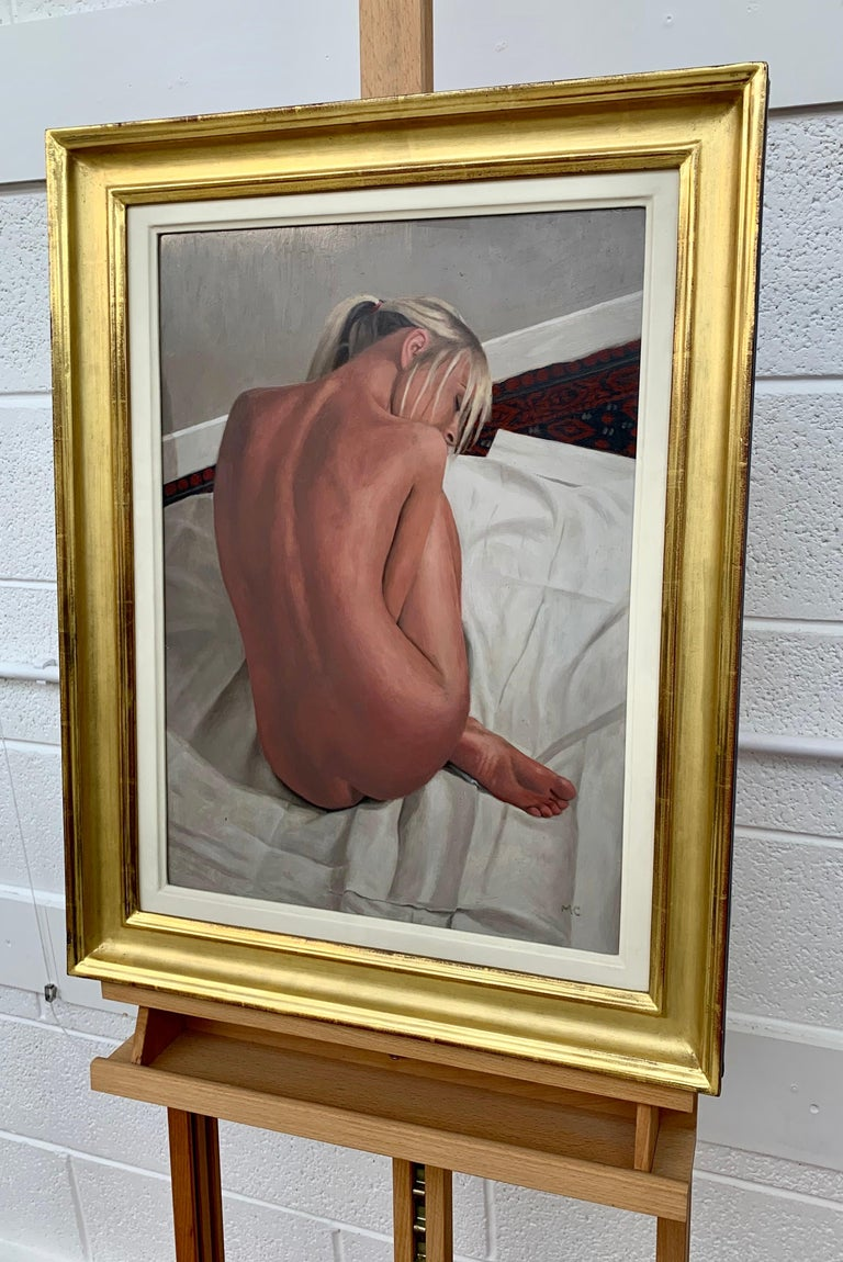Oil Painting of Female Blonde Nude Figure on Bed by Contemporary British Artist For Sale 1