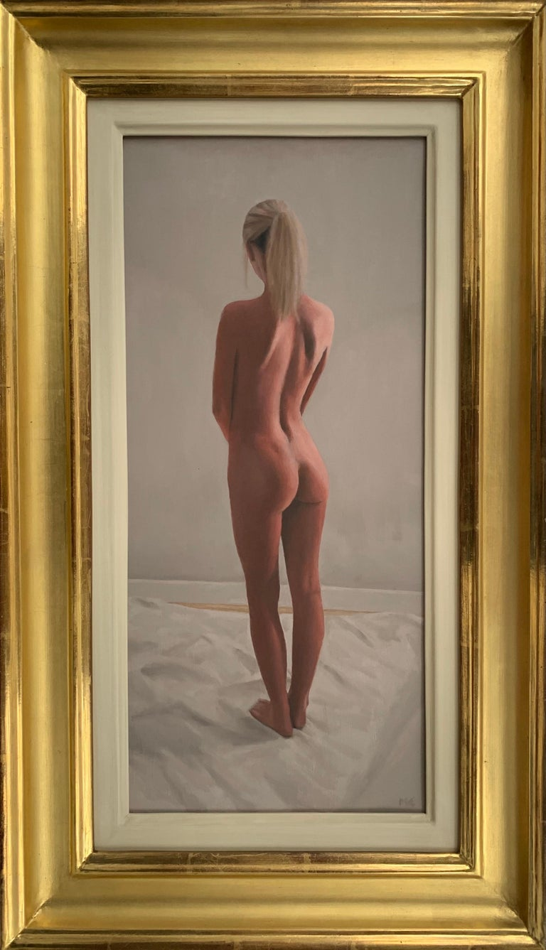 Oil Painting of Standing Female Nude Figure by British Contemporary Artist For Sale 8