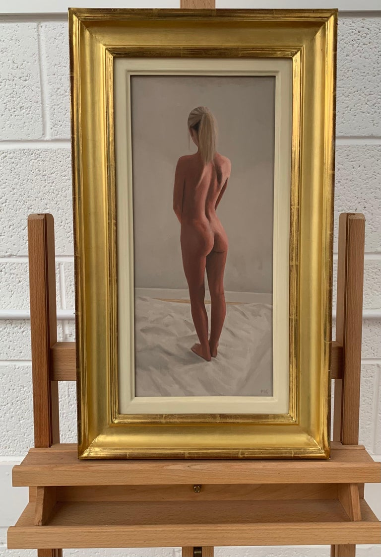 Oil Painting of Standing Female Nude Figure by British Contemporary Artist Mark Clark  Art measures 8 x 17 inches Frame measures 14 x 23 inches (approx.)  Mark Clark is a British Artist, born in 1959. Clark is a graduate of the Loughborough College