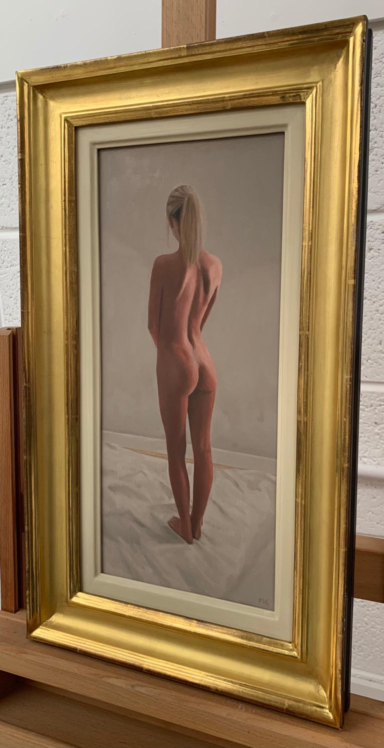Oil Painting of Standing Female Nude Figure by British Contemporary Artist For Sale 1