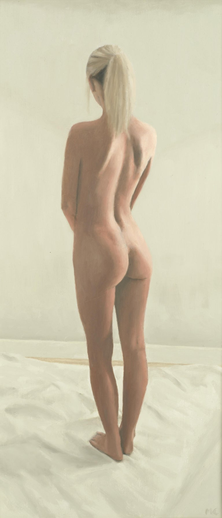 Oil Painting of Standing Female Nude Figure by British Contemporary Artist For Sale 2