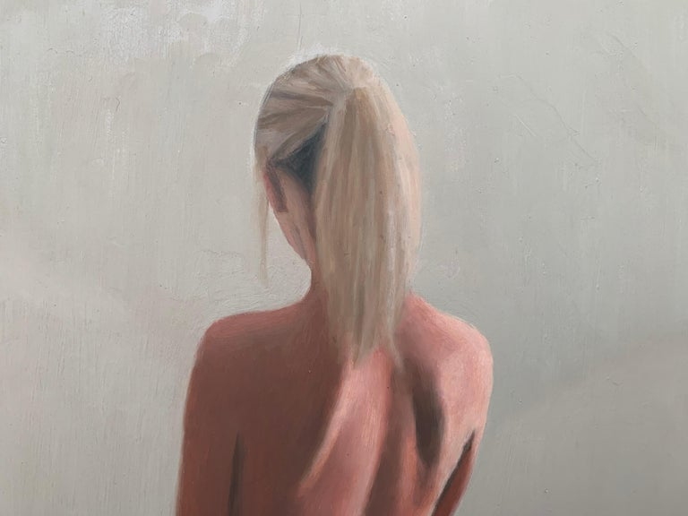 Oil Painting of Standing Female Nude Figure by British Contemporary Artist For Sale 3