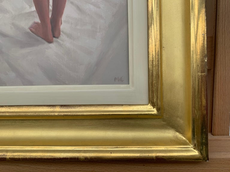 Oil Painting of Standing Female Nude Figure by British Contemporary Artist For Sale 4