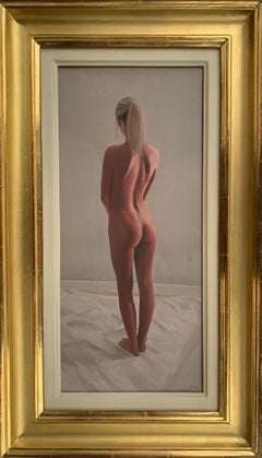 Oil Painting of Standing Female Nude Figure by British Contemporary Artist