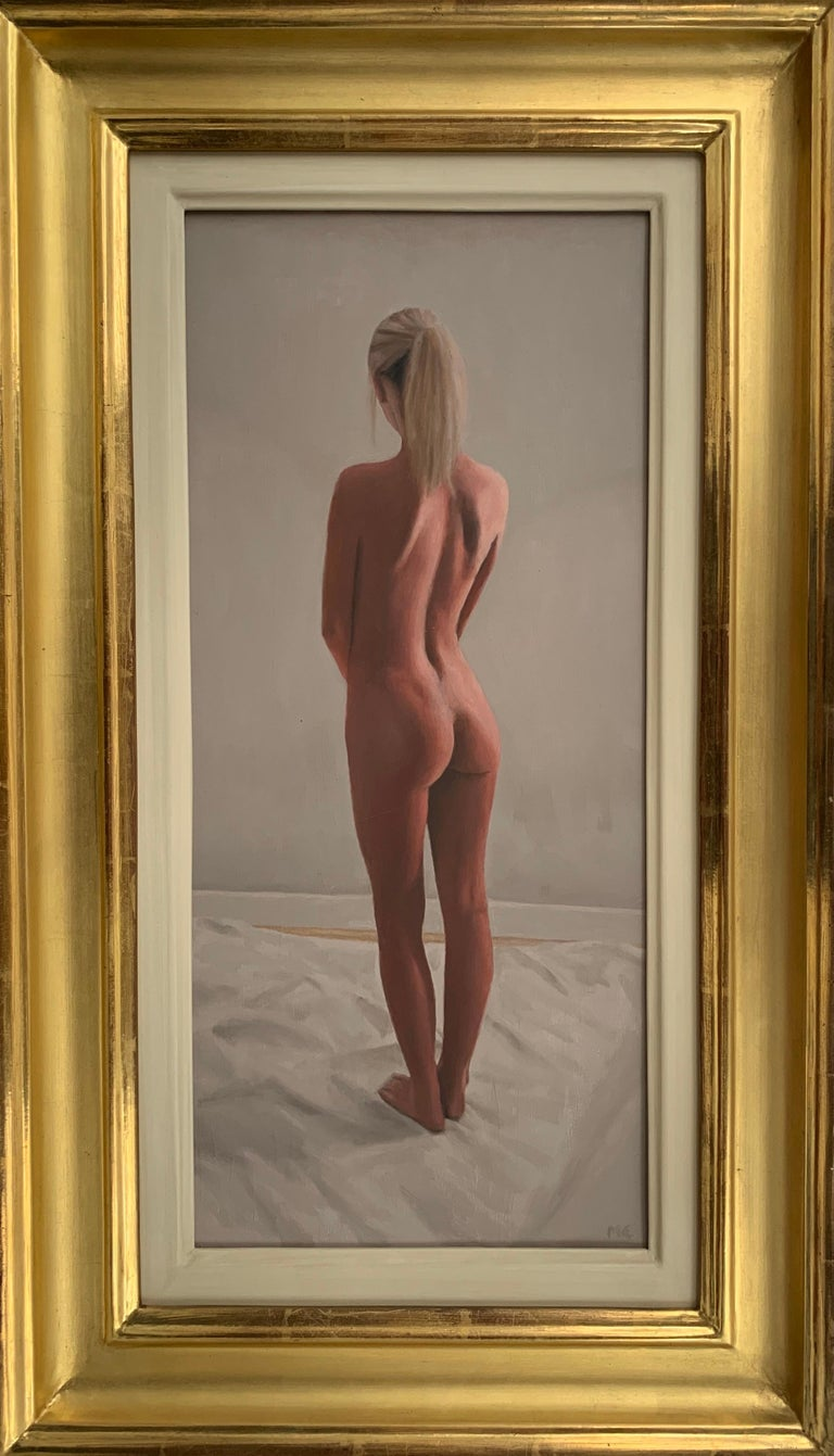 Mark Clark Figurative Painting - Oil Painting of Standing Female Nude Figure by British Contemporary Artist