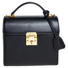 Mark Cross Black Leather Sara Top Handle Bag