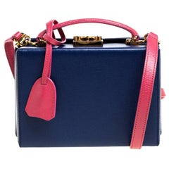 Mark Cross Blue/Pink Leather Grace Box Bag