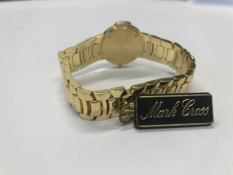Round Cut Mark Cross Gold Watch with Pearl Dial For Sale