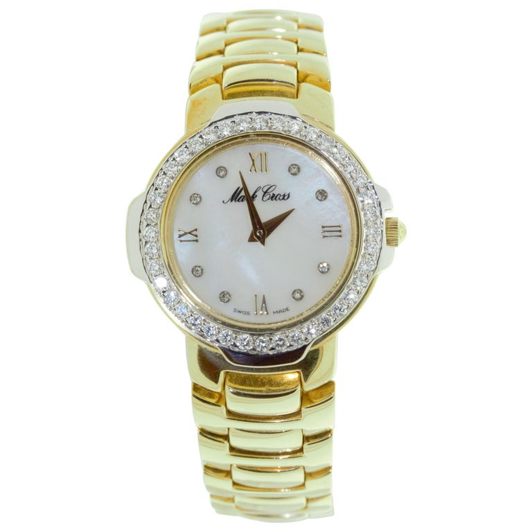 Mark Cross Gold Watch with Pearl Dial For Sale