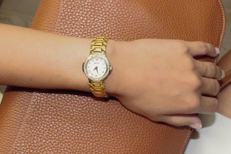 Round Cut Mark Cross Gold Watch with White Dial For Sale