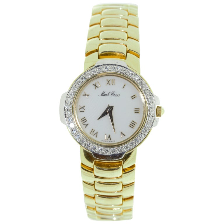 Mark Cross Gold Watch with White Dial For Sale