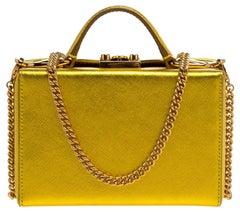 Mark Cross Golden Yellow Leather Mini Grace Box Bag