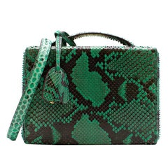 Mark Cross Grace small green python box bag