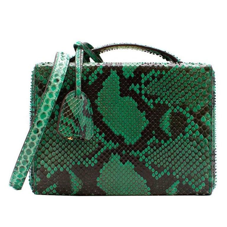 Mark Cross Grace small green python box bag