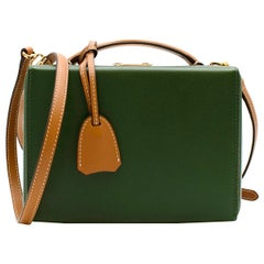 Mark Cross Green Textured Leather Small Grace Box Bag