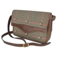 Mark Cross Houndstooth Leather Shoulder Handbag