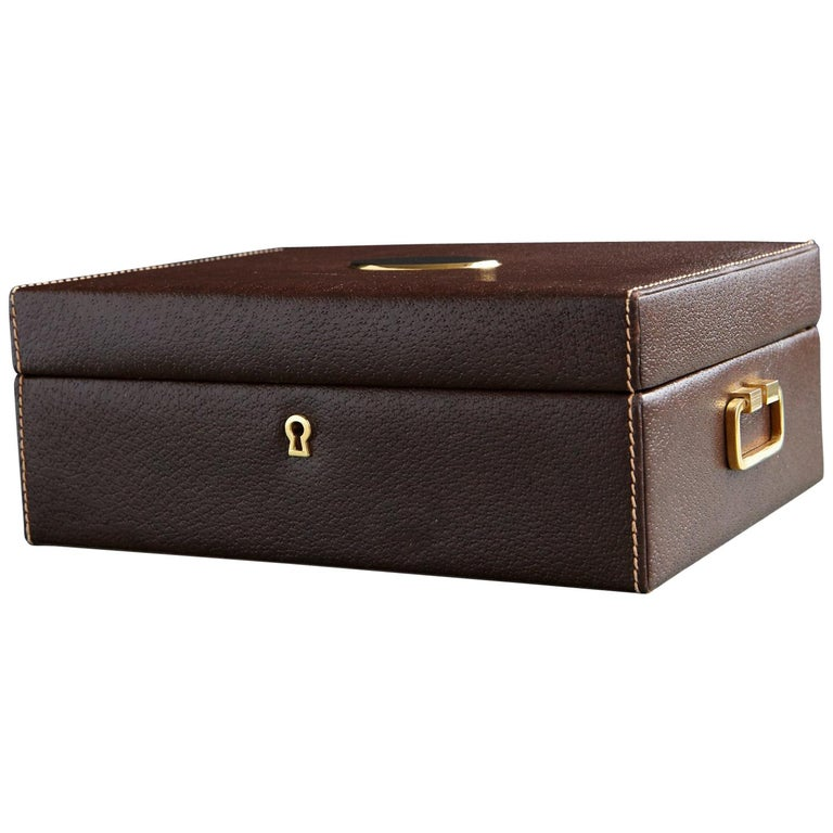 16fb2c83a26c Mark Cross Leather Brown Leather Jewelry Box For Sale at 1stdibs
