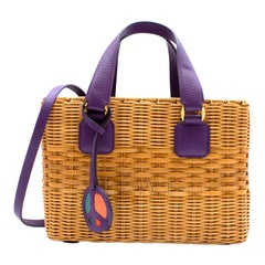 Mark Cross Manray Purple Raffia Tote Bag 26cm