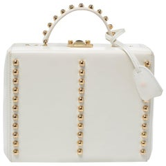 Mark Cross Off White Leather Grace Studded Box Bag
