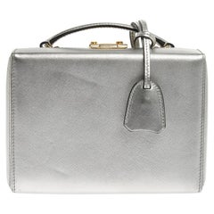 Mark Cross Silver Leather Small Grace Box Bag