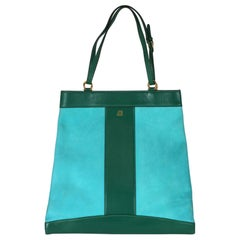 Mark Cross Turquoise and Evergreen Calf Tote