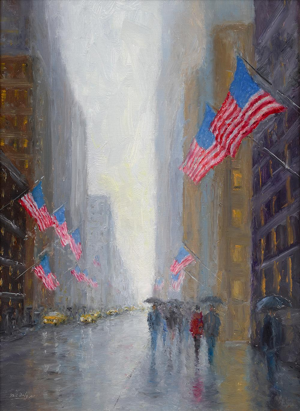 Mark Daly, Rainy Day Flags, New York City, 2019