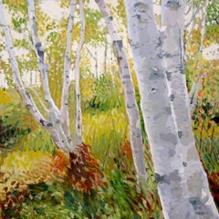Seaside Birches, Painting, Oil on Canvas