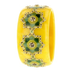 Mark Davis Bangle of Yellow Bakelite with Inlay, Peridot and Smoky Quartz