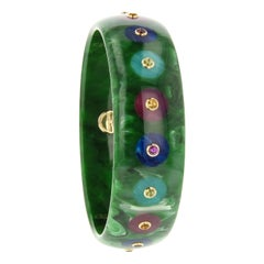 Mark Davis Bakelite Bangle with Citrine, Garnet and Peridot in 18 Karat Gold