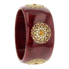 Mark Davis Bakelite Bangle with Citrine, Garnet and Sapphire in 18 Karat Gold