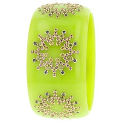 Mark Davis Vintage Bakelite Bangle with Colored Sapphires and Peridot in 18k