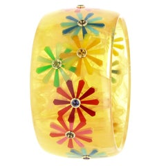 Mark Davis Vintage Bakelite Bangle with Floral Inlay and Fine Gemstones in 18k