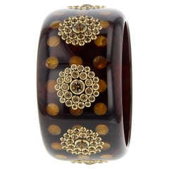 Mark Davis Vintage Bakelite Bangle with Inlaid Polka Dots and Smoky Quartz