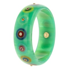 Mark Davis Vintage Bakelite Bangle with Inlay and Assorted Gemstones in 18k Gold