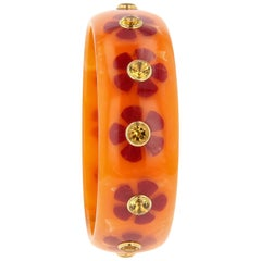 Mark Davis Vintage Bakelite Bangle with Inlay and Citrine in 18 Karat Gold
