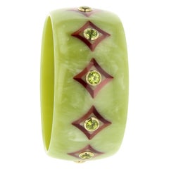 Mark Davis Vintage Bakelite Bangle with Inlay and Peridot in 18 Karat Gold