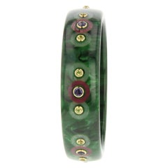 Mark Davis Vintage Bakelite Bangle with Iolite and Peridot in 18 Karat Gold
